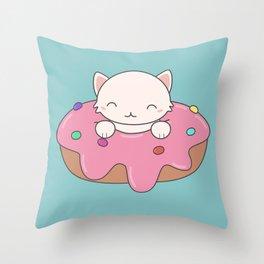 Kawaii Cute Cat Donut Throw Pillow