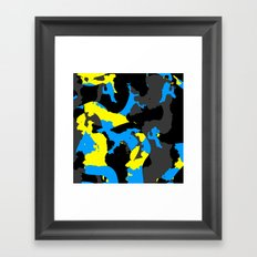 Black Blue yellow and Gray Abstract Framed Art Print