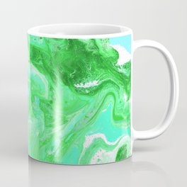 Green, Blue, and White Fluid Acrylic Abstract Painting Coffee Mug