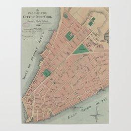 Vintage Map of Lower Manhattan (1776) Poster