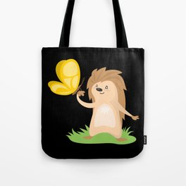 Hedgehog and Butterfly | Cute Animals Tote Bag