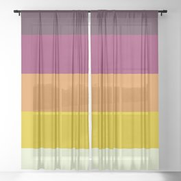 Classic 70s Retro Stripes Sheer Curtain