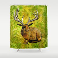 jackalope Shower Curtains featuring Jackalope by Rob Sassi
