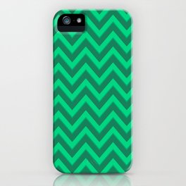 Green and Emerald Chevron Pattern iPhone Case