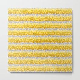 Mosaic Stripes, Mustard Yellow and Gray Metal Print