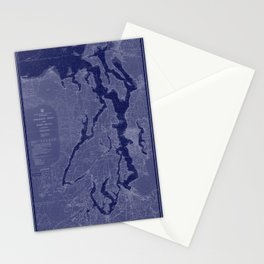 Puget Sound Washington State Nautical Chart Map Print 1956 Dark Blue, Map Art Prints Stationery Cards
