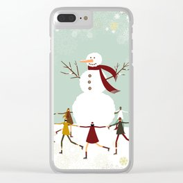 Snowman and children Clear iPhone Case