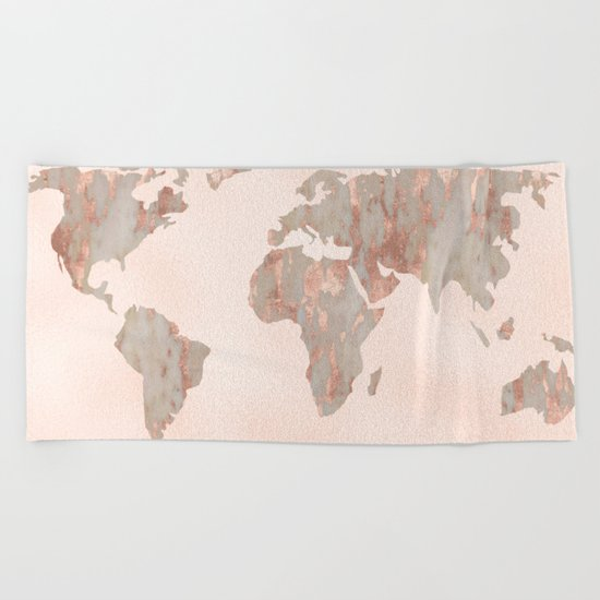Rosegold Marble Map of the World Beach Towel