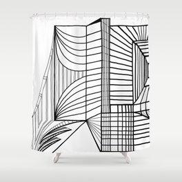 Geometric Architectural Bird - Heart Shower Curtain