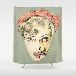 zombie pin-up retro housewife horror rockabilly scarf wearing strong woman Shower Curtain