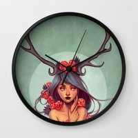 into the wild Wall Clocks featuring Wild by Joifish