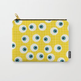 Cute Blue Eyes on Yellow Background Carry-All Pouch