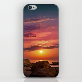 """Magical landscape with clouds and the moon going up in the sky in """"La Costa Brava, Spain"""" iPhone Skin"""