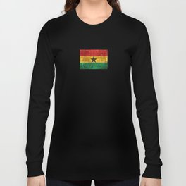 Vintage Aged and Scratched Ghana Flag Long Sleeve T-shirt