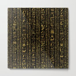 Egyptian hieroglyphs vintage gold on black Metal Print