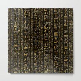 Egyptian hieroglyphs vintage gold on black Metal Print