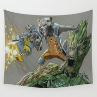 guardians Wall Tapestries featuring Guardians by theMAINsketch
