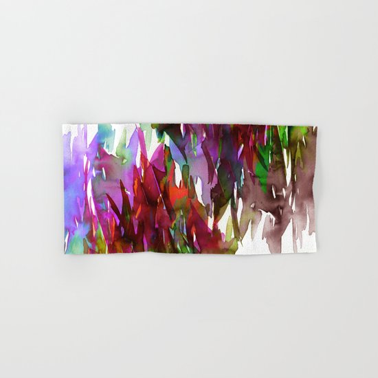 FERVOR 3 Colorful Bold Abstract Autumn Fall Crimson Red Purple Mauve Green Watercolor Painting Art Hand & Bath Towel