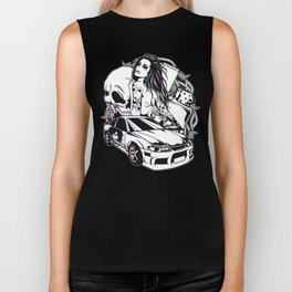 Tattoo GIRL with SKULL AND CAR - Snake Biker Tank