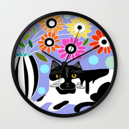Kitty cat lounging Wall Clock