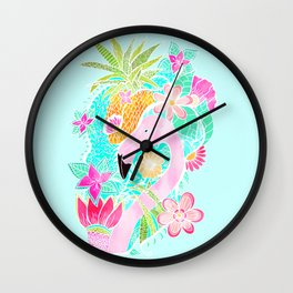 Tropical summer watercolor flamingo floral pineapple Wall Clock
