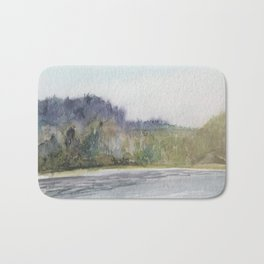 Pacific Northwest Columbia River Watercolor Bath Mat