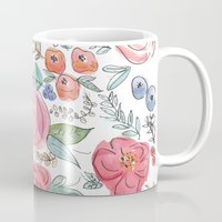 jenna kutcher Mugs featuring Watercolor Floral Print by Jenna Kutcher