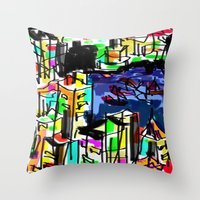 tokyo Throw Pillows featuring tokyo by sladja