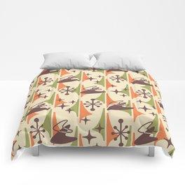 Mid Century Modern Cosmic Boomerang 726 Brown Orange and Green Comforters