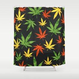 Cannabis. Grunge pattern Shower Curtain