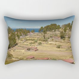 Houses of Local Peruvian People Living on Taquile Island, Peru Rectangular Pillow