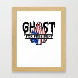 Ghost Elected Cute Halloween Spirit in American Flag Light Framed Art Print