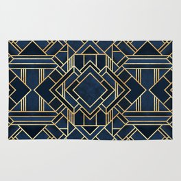 Art Deco Fancy Blue Rug