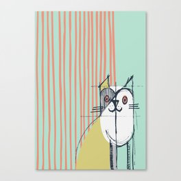 Cubist Cat Study #5 by Friztin Canvas Print