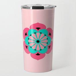 Lotus Flower Mandala, Coral Pink and Turquoise Travel Mug