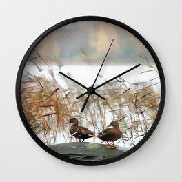 Ducks On A Pond Wall Clock