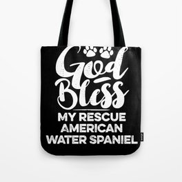 God Bless My Rescue American Water Spaniel Paw Print for Dog Walker Gift Tote Bag