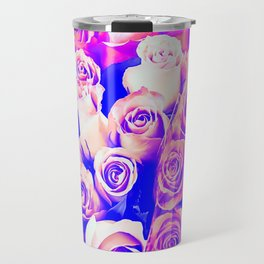 bouquet of roses texture pattern abstract in pink and purple Travel Mug