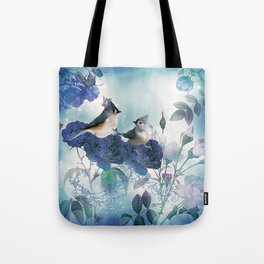 Cute birds with flowers Tote Bag