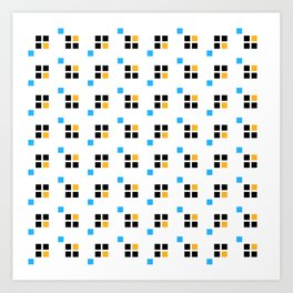 Three color enlarged pixel pattern Art Print