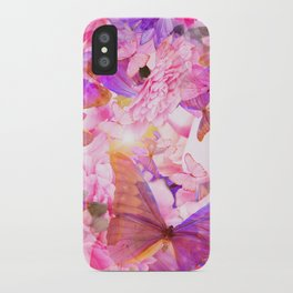 A Summer Dream Where Pink And Violet Butterflies Flying #decor #society6 #pivivikstrm iPhone Case