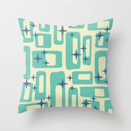 Retro Mid Century Modern Abstract Pattern 577 Turquoise Blue Throw Pillow
