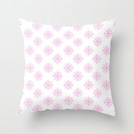 Snowflakes (Pink & White Pattern) Throw Pillow