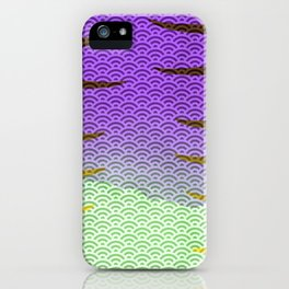 Purple/Green Watercolor Seigaiha Pattern w/ Yellow Tiger Stripes iPhone Case
