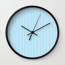 Classic Small Blue Sky Pastel Blue French Mattress Ticking Double Stripes Wall Clock