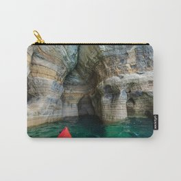 Red Kayak in Lake Superior Cave Carry-All Pouch