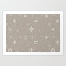 Snow Flakes pattern Beige #homedecor #nurserydecor Art Print