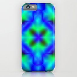 Bright pattern of blurry light blue and green flowers in a bright kaleidoscope. iPhone Case