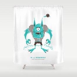 W is for Werewolf Shower Curtain