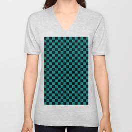 Black and Teal Green Checkerboard Unisex V-Neck
